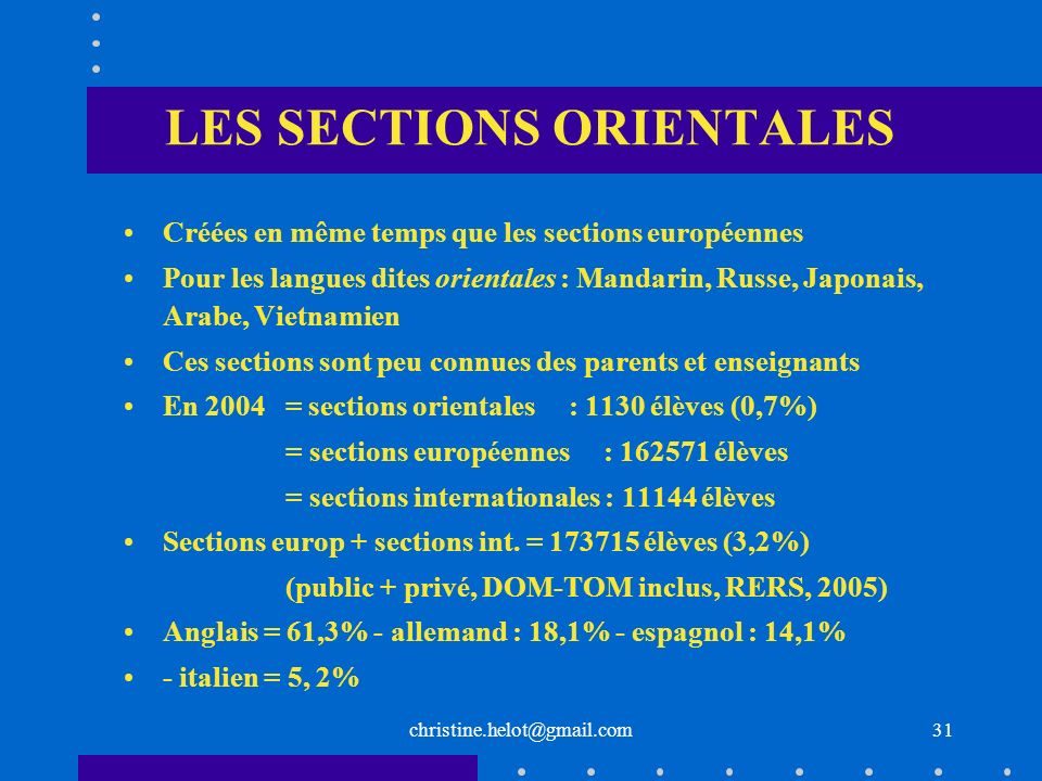 LES SECTIONS ORIENTALES