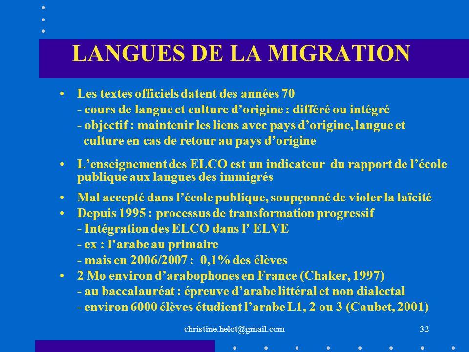 LANGUES DE LA MIGRATION