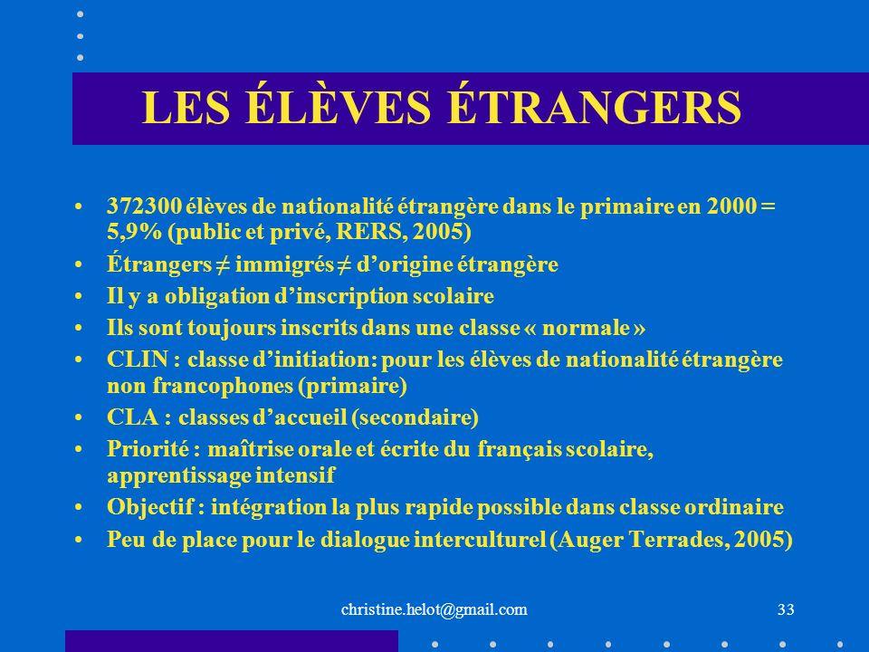 LES ÉLÈVES ÉTRANGERS372300 élèves de nationalité étrangère dans le primaire en 2000 = 5,9% (public et privé, RERS, 2005)