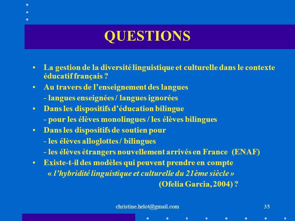 QUESTIONS La gestion de la diversité linguistique et culturelle dans le contexte éducatif français