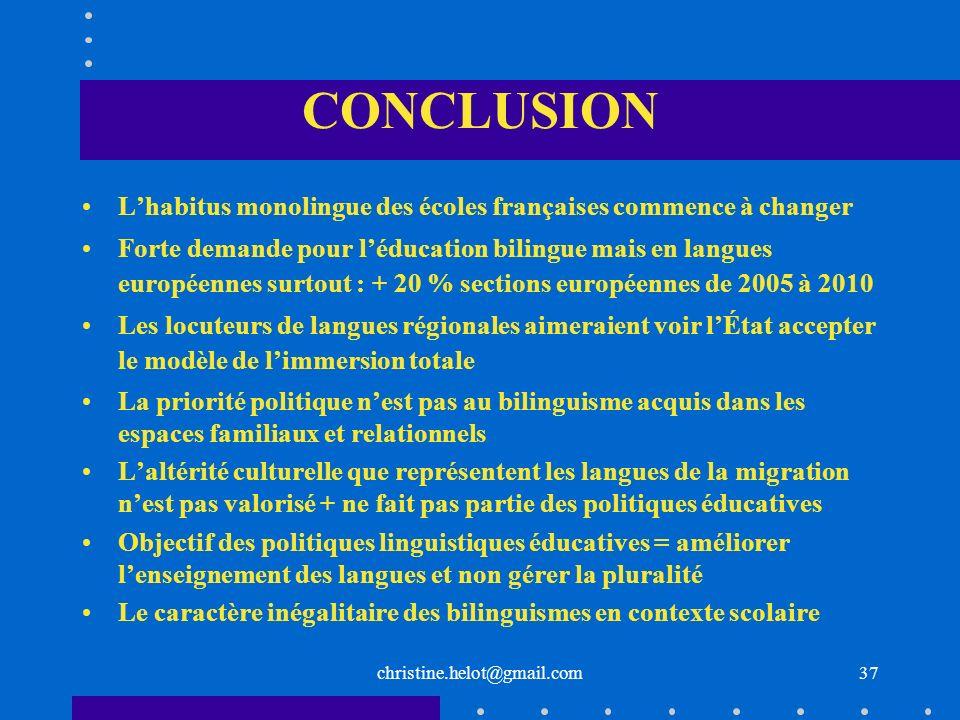 CONCLUSIONL'habitus monolingue des écoles françaises commence à changer.
