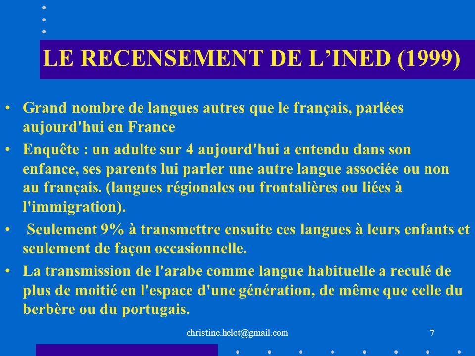 LE RECENSEMENT DE L'INED (1999)