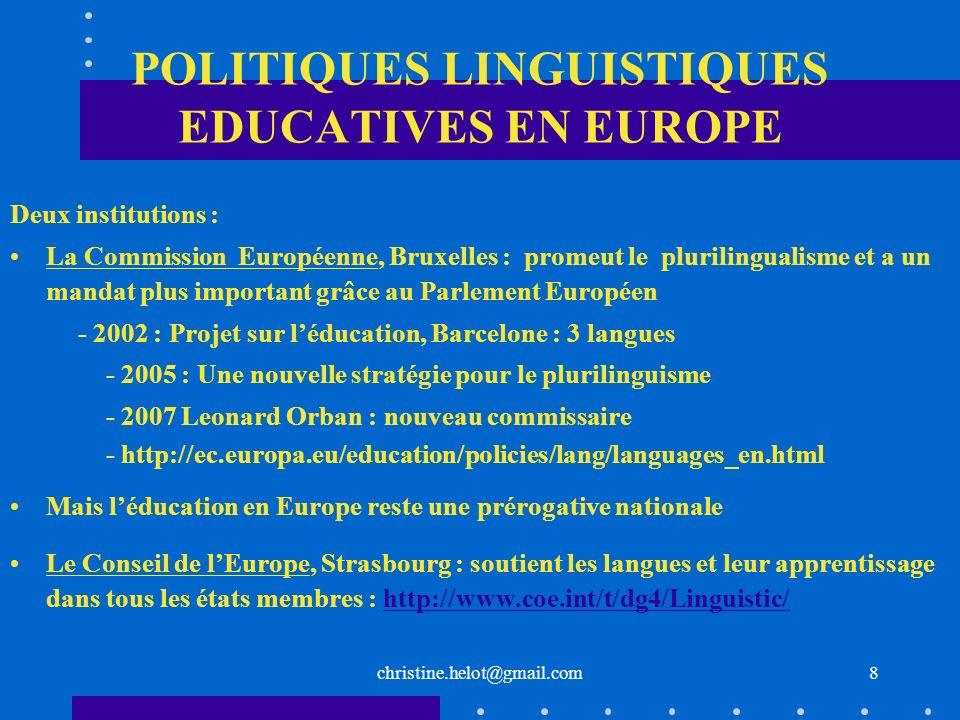 POLITIQUES LINGUISTIQUES EDUCATIVES EN EUROPE