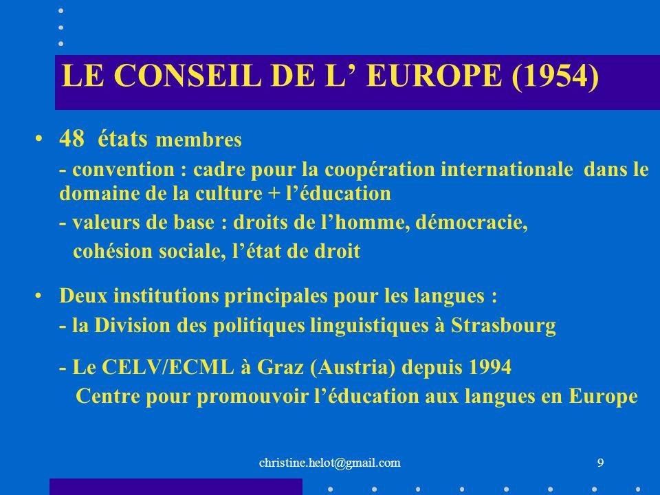 LE CONSEIL DE L' EUROPE (1954)