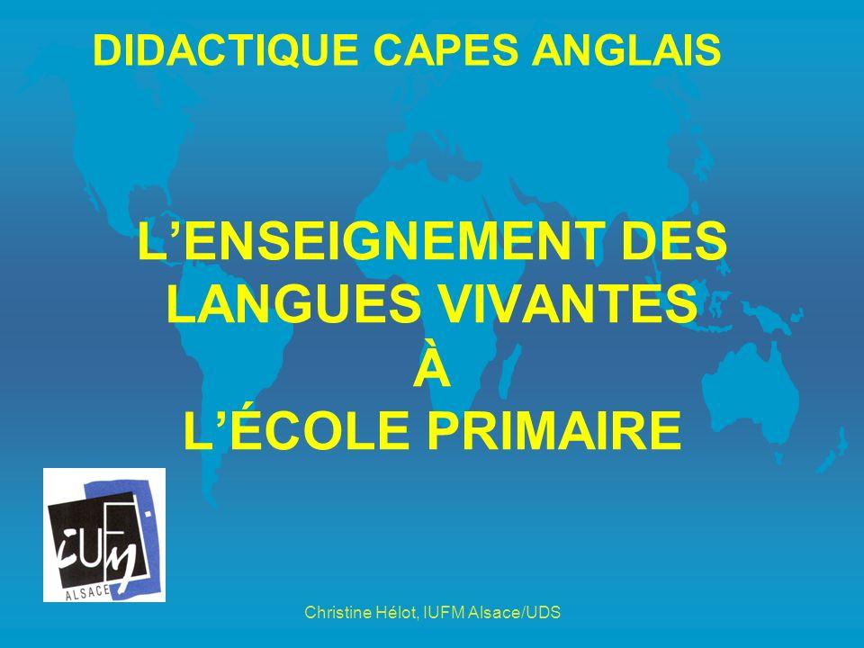 L'ENSEIGNEMENT DES LANGUES VIVANTES À L'ÉCOLE PRIMAIRE