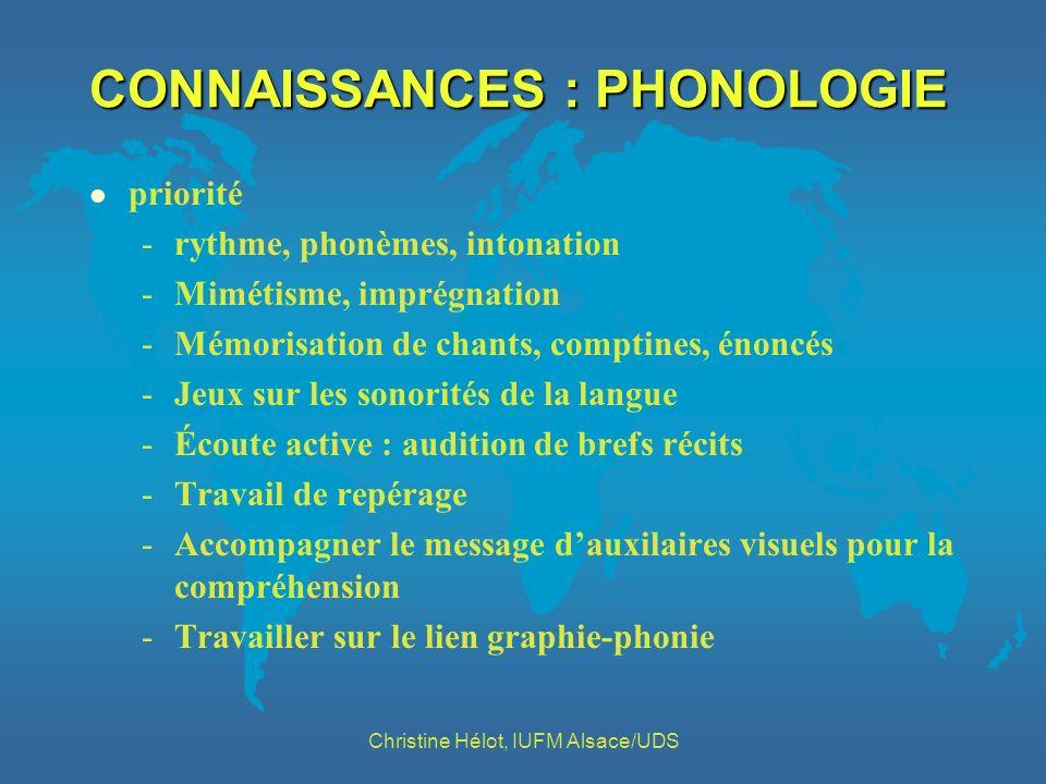 CONNAISSANCES : PHONOLOGIE