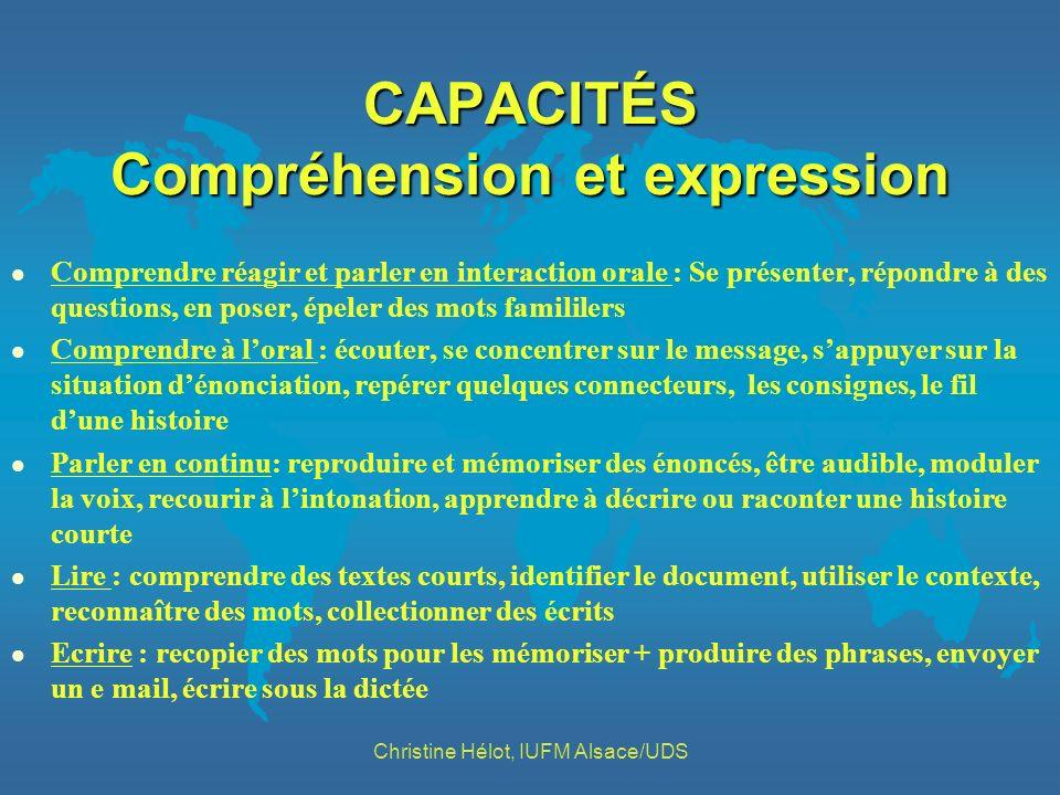 CAPACITÉS Compréhension et expression