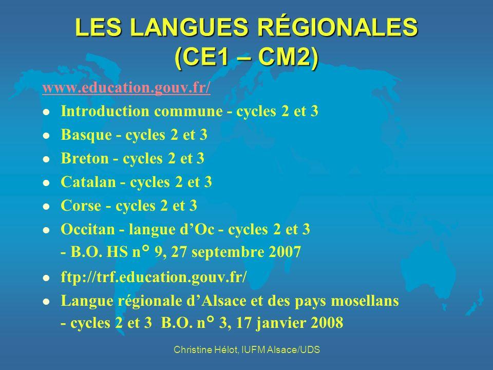 LES LANGUES RÉGIONALES (CE1 – CM2)