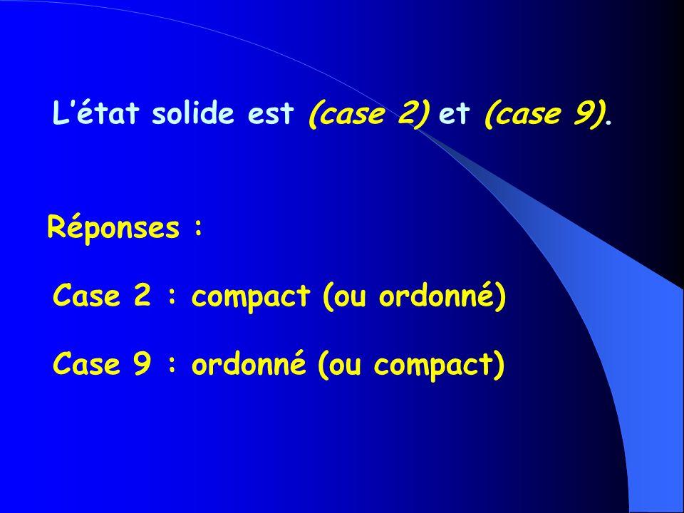 L'état solide est (case 2) et (case 9).