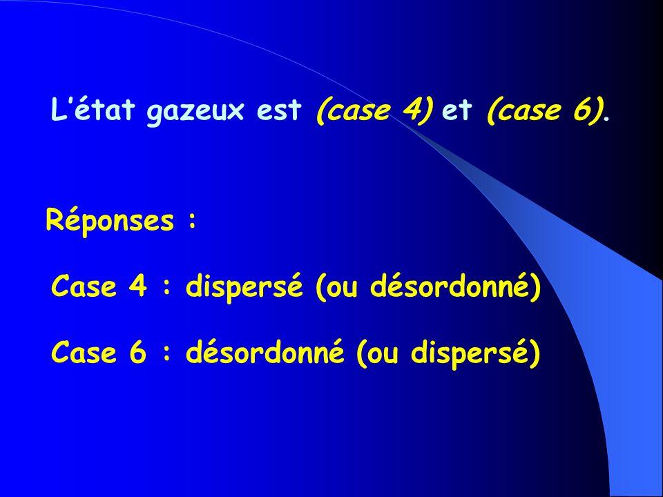 L'état gazeux est (case 4) et (case 6).