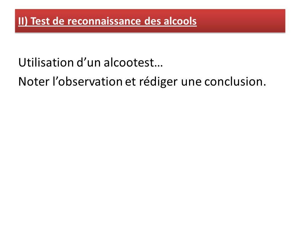II) Test de reconnaissance des alcools