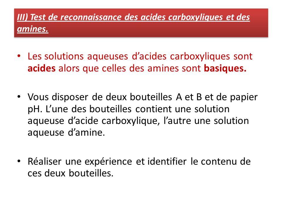 III) Test de reconnaissance des acides carboxyliques et des amines.