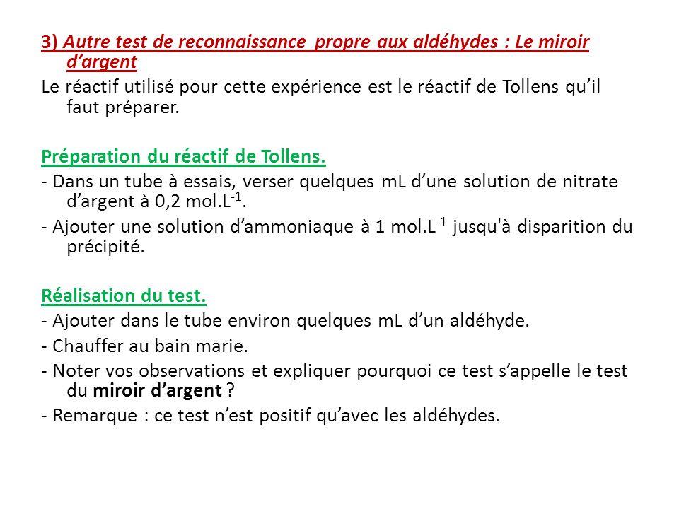 3) Autre test de reconnaissance propre aux aldéhydes : Le miroir d'argent Le réactif utilisé pour cette expérience est le réactif de Tollens qu'il faut préparer.