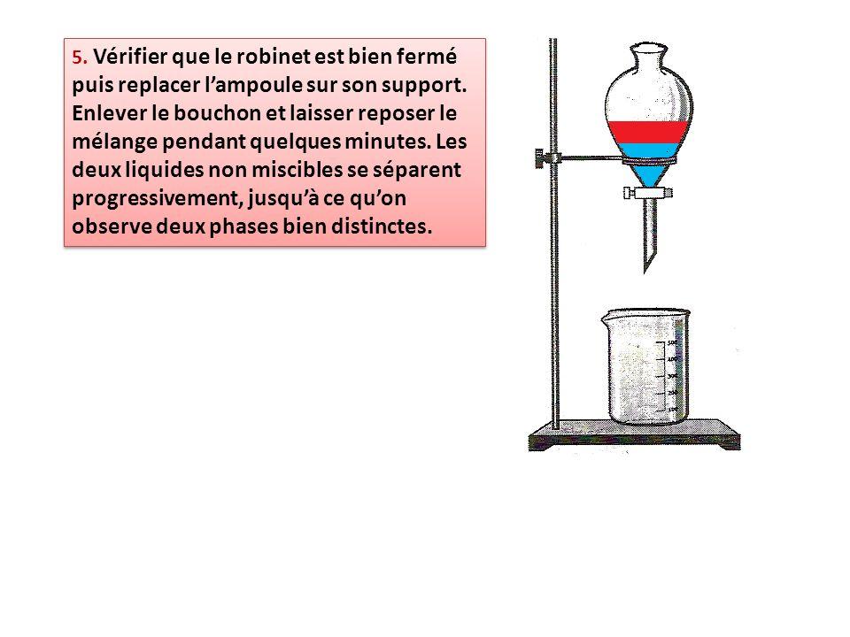5. Vérifier que le robinet est bien fermé puis replacer l'ampoule sur son support.