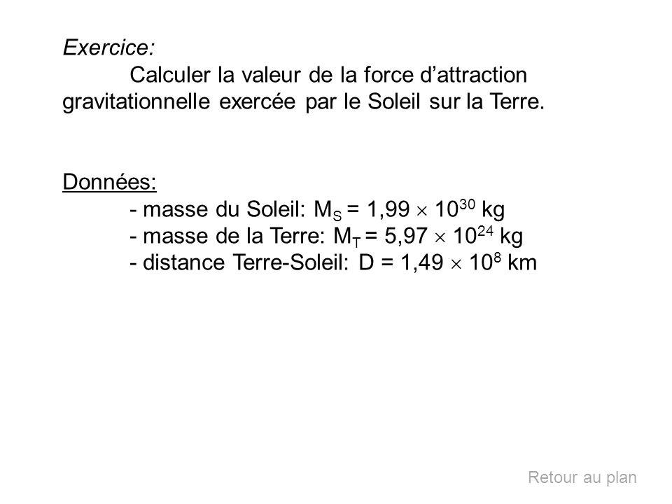 - masse du Soleil: MS = 1,99  1030 kg