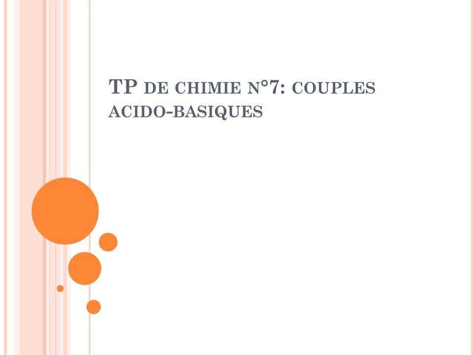 TP de chimie n°7: couples acido-basiques