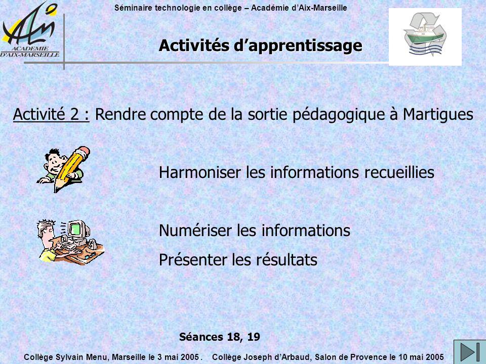 Activités d'apprentissage