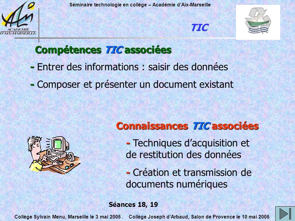 Compétences TIC associées