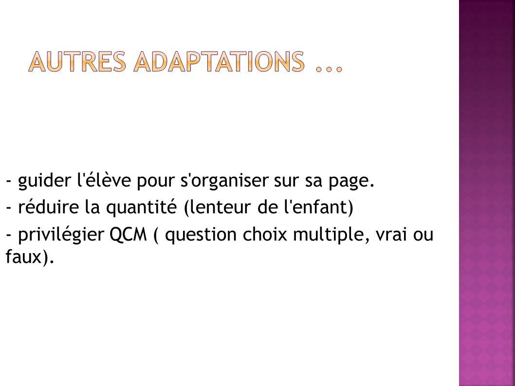 Autres adaptations ... - guider l élève pour s organiser sur sa page.