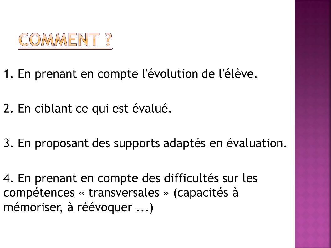 Comment 1. En prenant en compte l évolution de l élève.