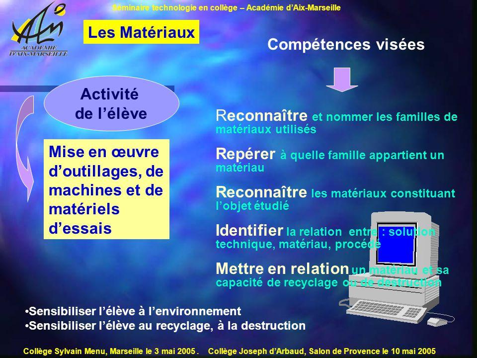 Les Matériaux Compétences visées Activité de l'élève