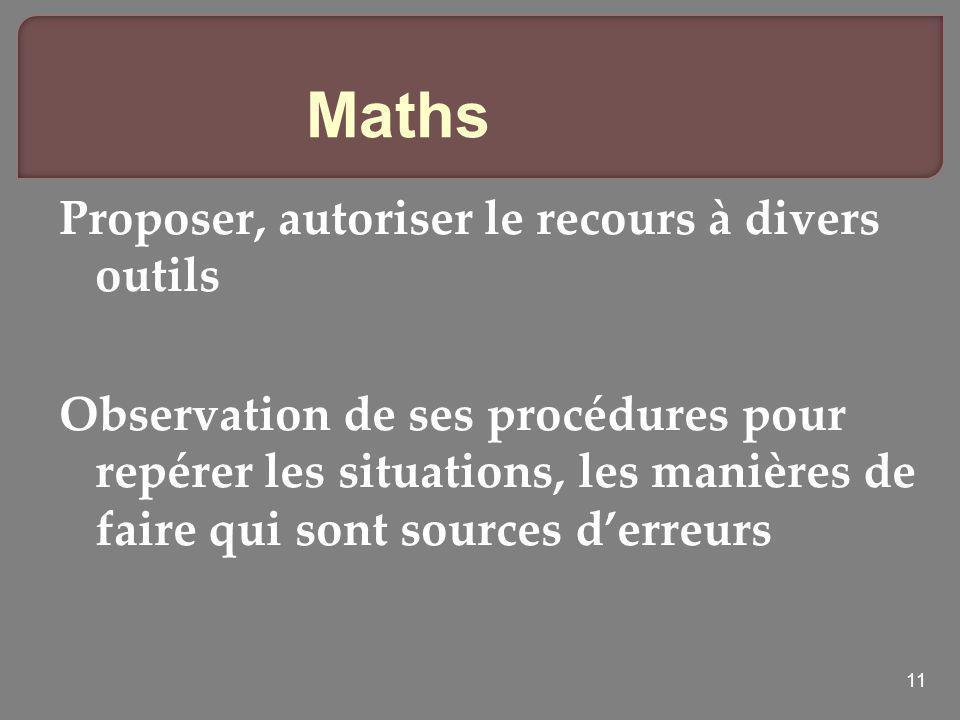 Maths Proposer, autoriser le recours à divers outils