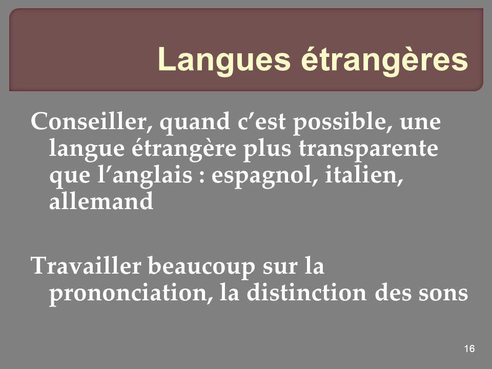 Langues étrangères Conseiller, quand c'est possible, une langue étrangère plus transparente que l'anglais : espagnol, italien, allemand.