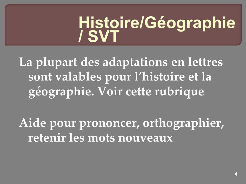 Histoire/Géographie / SVT