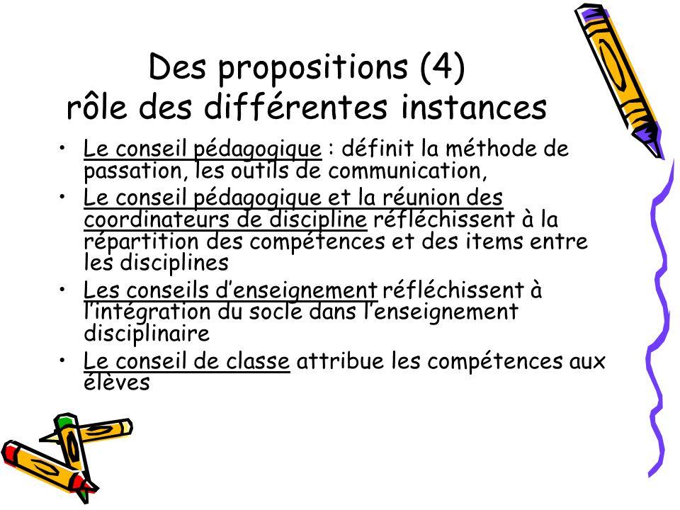 Des propositions (4) rôle des différentes instances