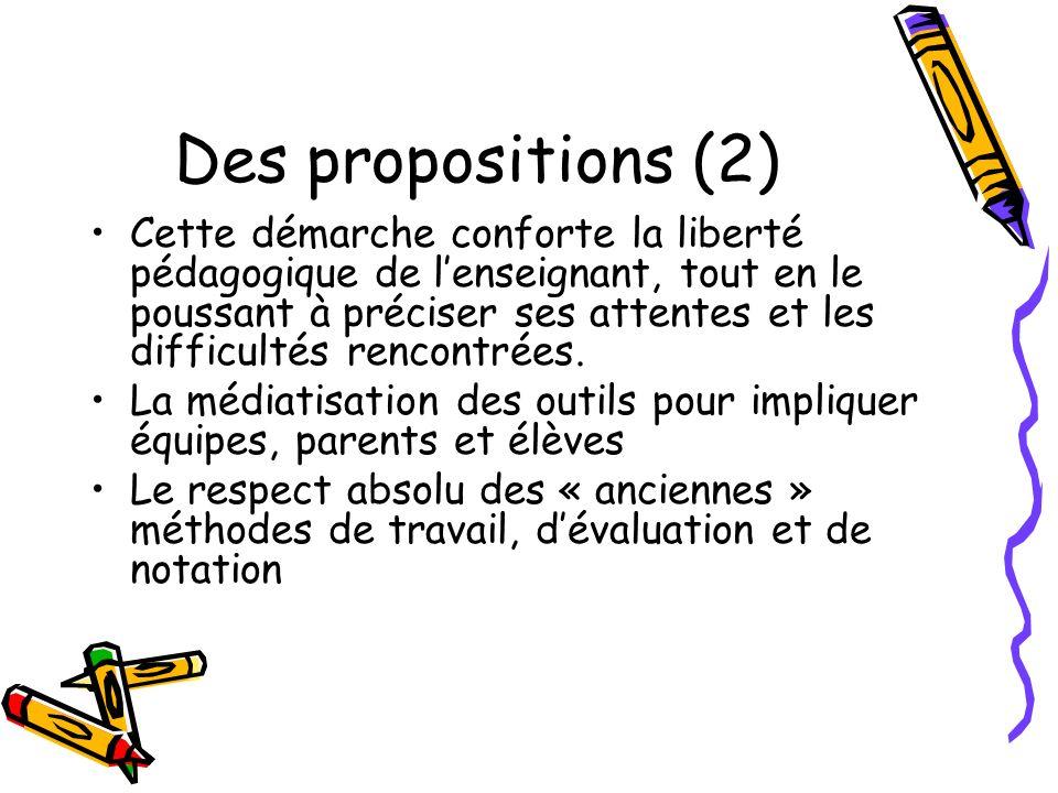 Des propositions (2)