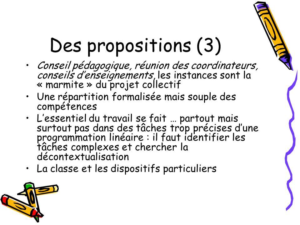 Des propositions (3)Conseil pédagogique, réunion des coordinateurs, conseils d'enseignements, les instances sont la « marmite » du projet collectif.