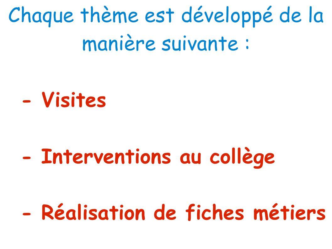 Chaque thème est développé de la manière suivante :