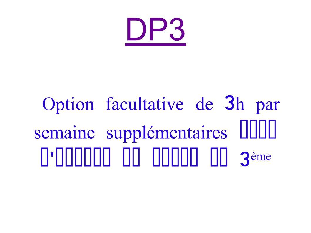 DP3 Option facultative de 3h par semaine supplémentaires dans l emploi du temps de 3ème
