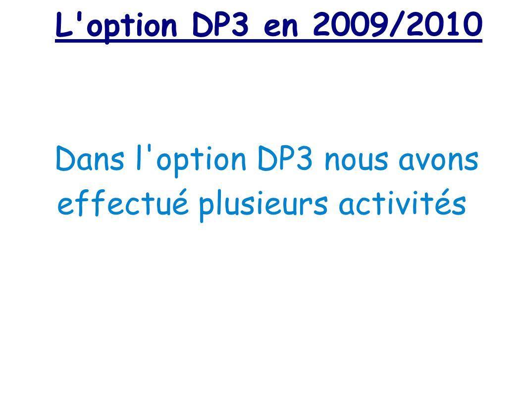 Dans l option DP3 nous avons effectué plusieurs activités