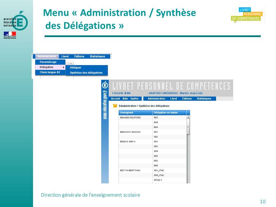 Menu « Administration / Synthèse des Délégations »