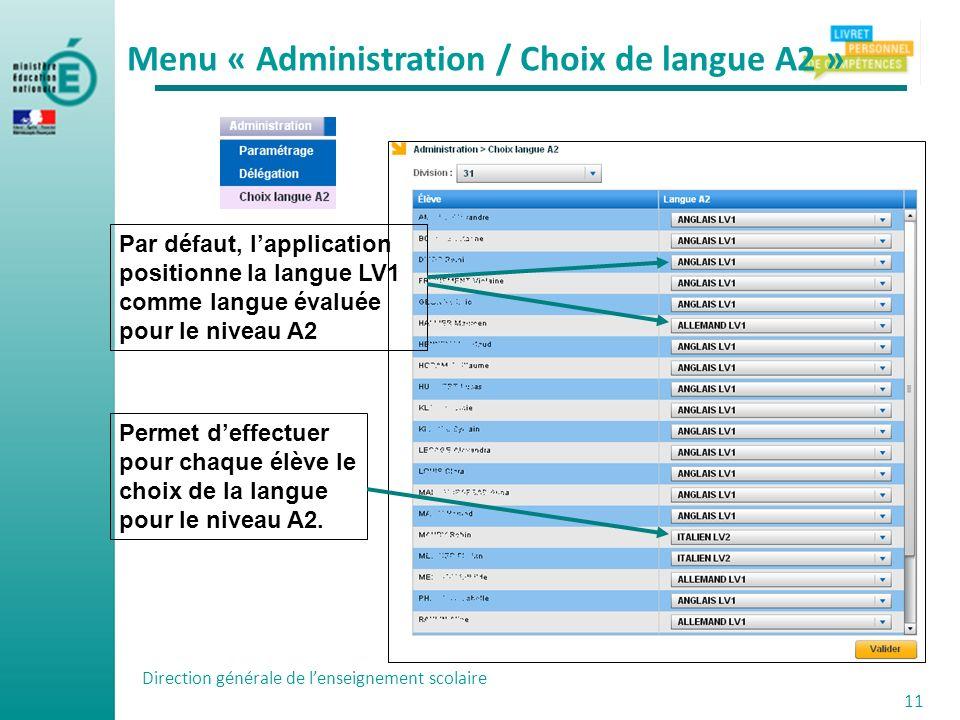 Menu « Administration / Choix de langue A2 »