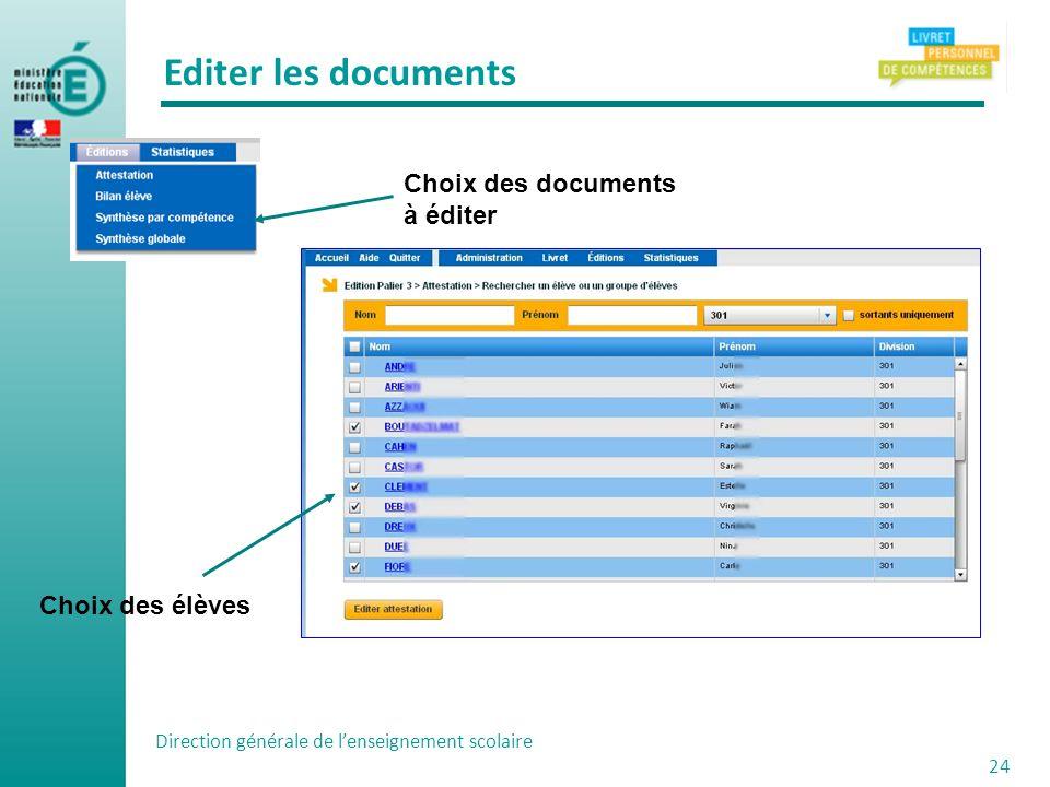 Editer les documents Choix des documents à éditer Choix des élèves