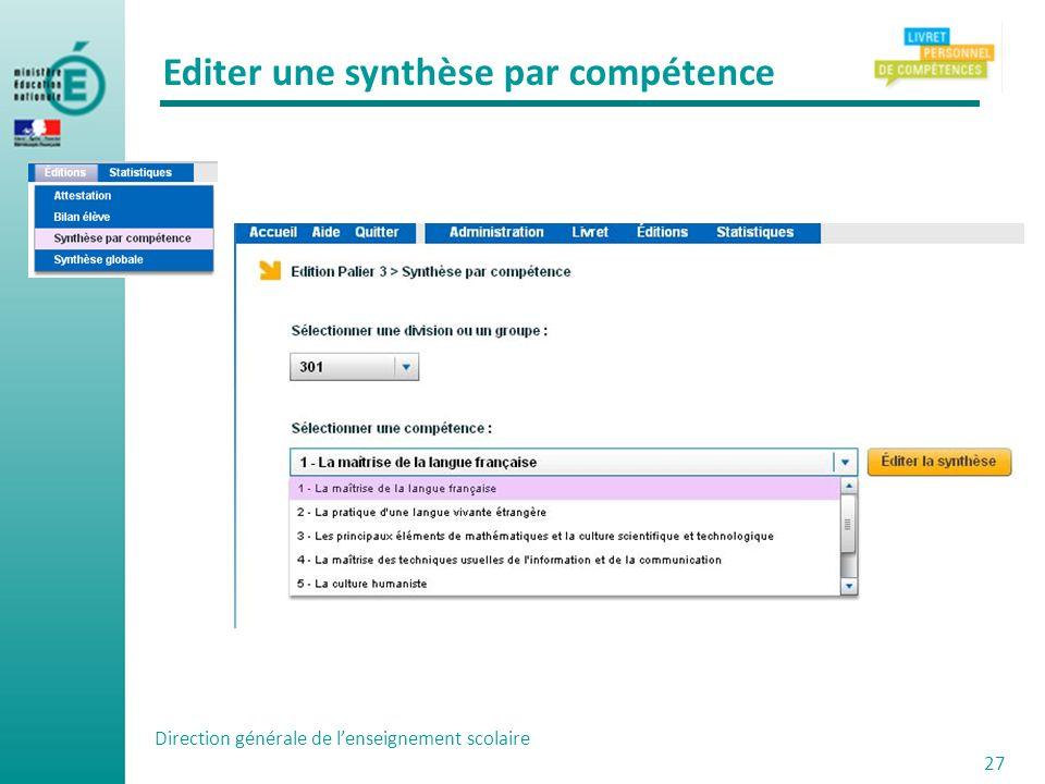Editer une synthèse par compétence