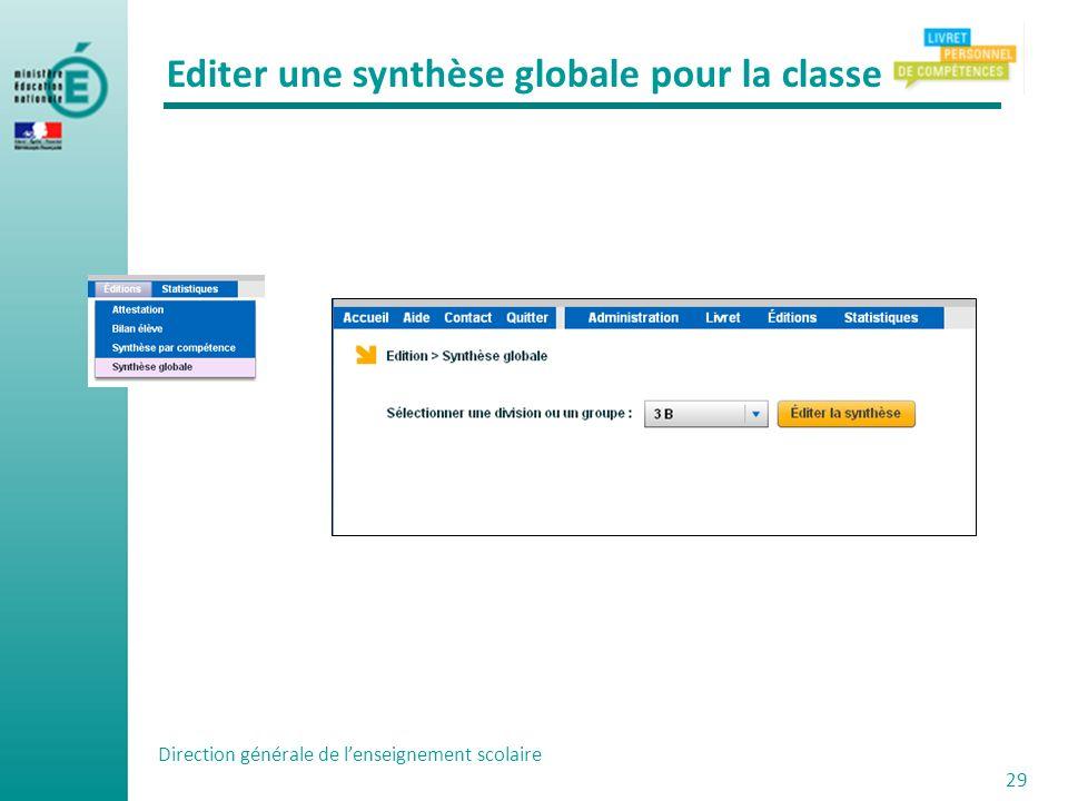 Editer une synthèse globale pour la classe