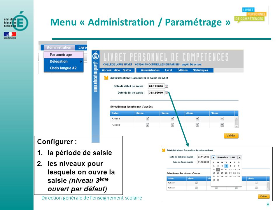 Menu « Administration / Paramétrage »