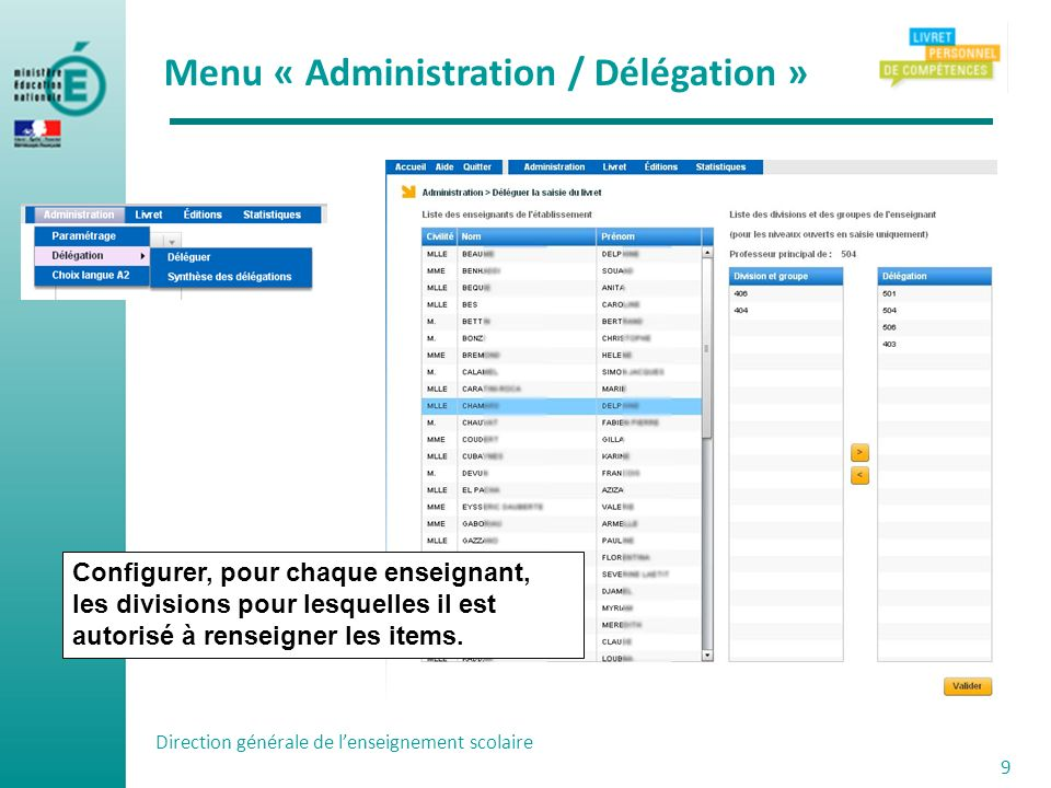 Menu « Administration / Délégation »