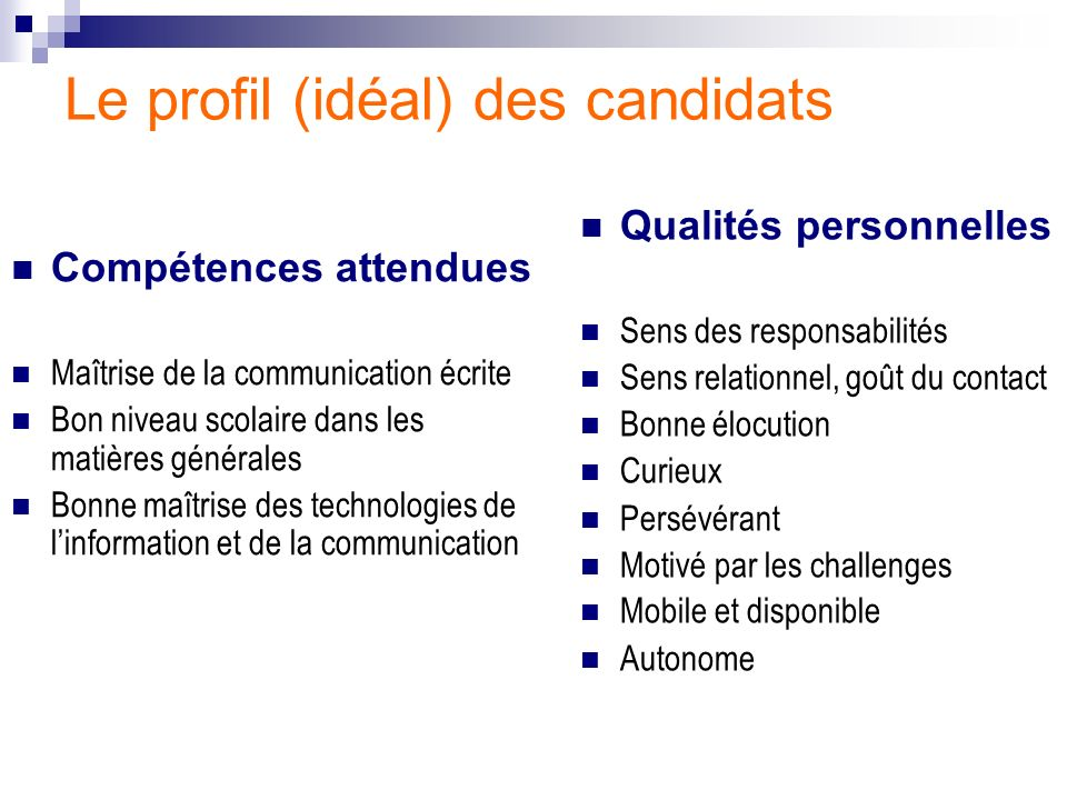 Le profil (idéal) des candidats