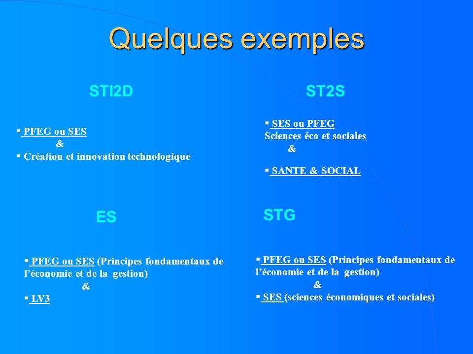 Quelques exemples STI2D ST2S ES STG SES ou PFEG