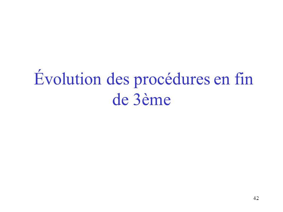 Évolution des procédures en fin de 3ème
