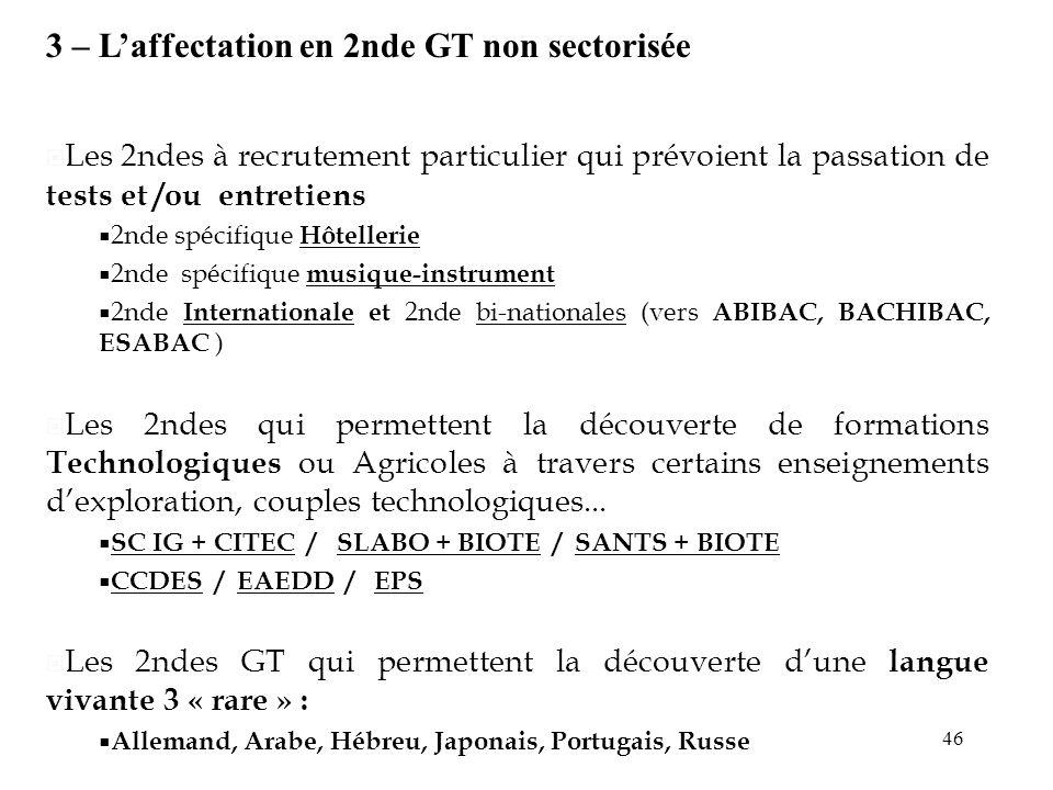 3 – L'affectation en 2nde GT non sectorisée