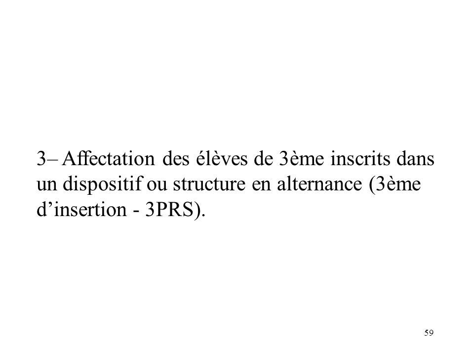 3– Affectation des élèves de 3ème inscrits dans un dispositif ou structure en alternance (3ème d'insertion - 3PRS).