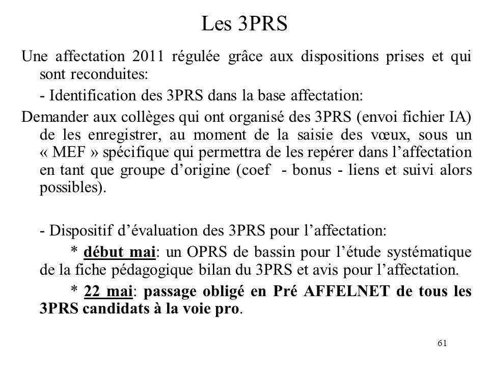 Les 3PRS Une affectation 2011 régulée grâce aux dispositions prises et qui sont reconduites: - Identification des 3PRS dans la base affectation: