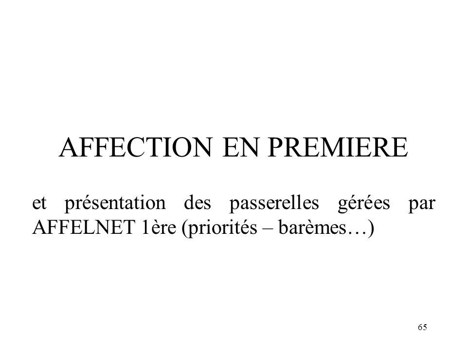 AFFECTION EN PREMIERE et présentation des passerelles gérées par AFFELNET 1ère (priorités – barèmes…)