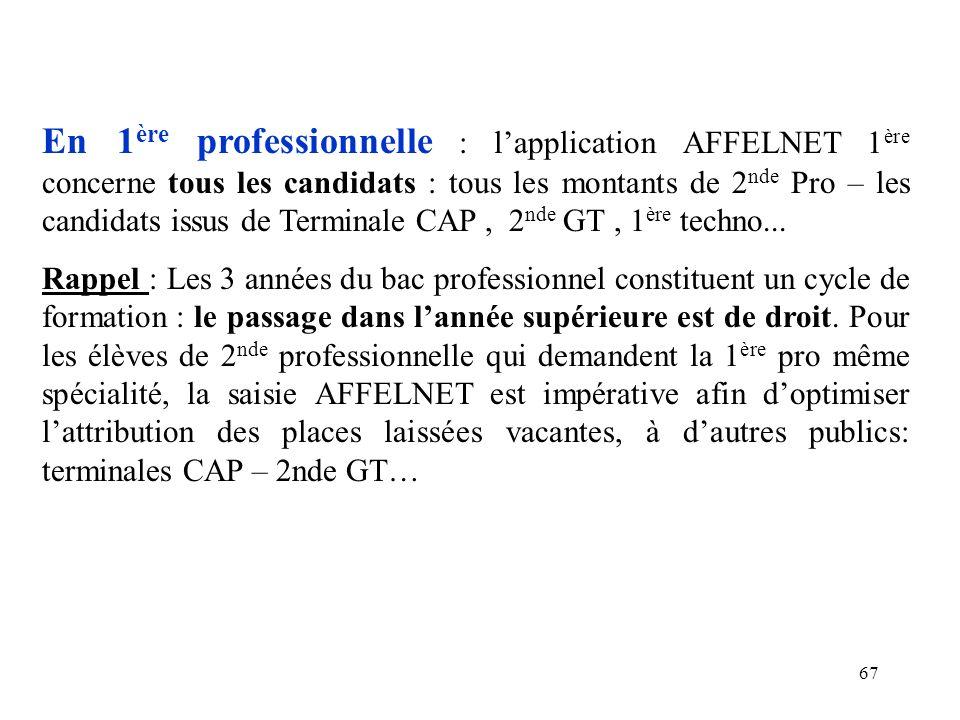 En 1ère professionnelle : l'application AFFELNET 1ère concerne tous les candidats : tous les montants de 2nde Pro – les candidats issus de Terminale CAP , 2nde GT , 1ère techno...