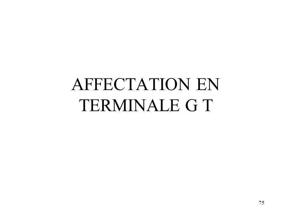 AFFECTATION EN TERMINALE G T